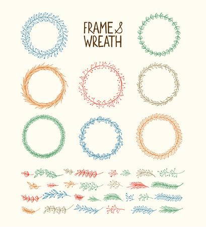 laurel leaf: Hand drawn wreath and frame. Vector illustration
