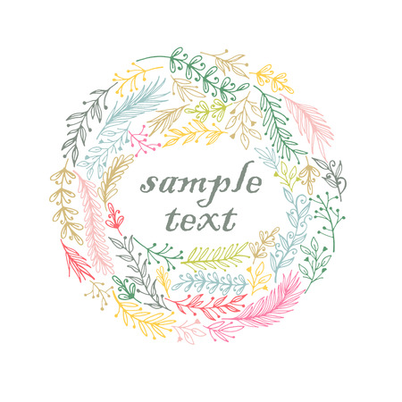 Hand drawn wreath frame. Sketch vector illustration.