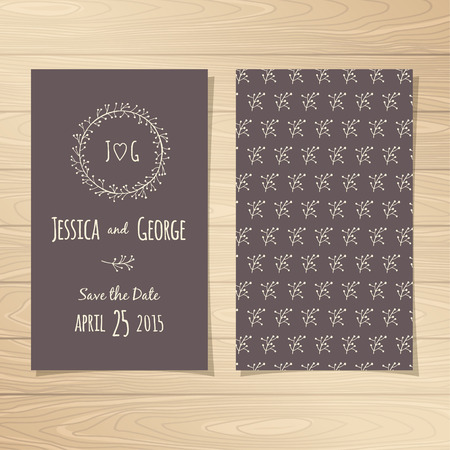 Save the Date Wedding Cards. Vector illustration.