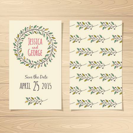 date: Save the Date Wedding Cards. Vector illustration.