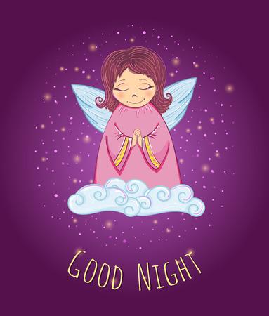 Little Cute Angel in a Cloud. Good Night Card. Vector Illustration Vector