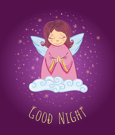 Little Cute Angel in a Cloud. Good Night Card. Vector Illustration