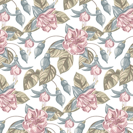 Seamless Flower Pattern. Hand Drawn Vector Illustration. Illustration