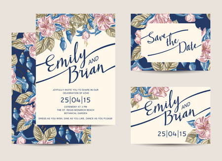 wedding invitation card: Set of Wedding Invitations Template. Vector Illustration.