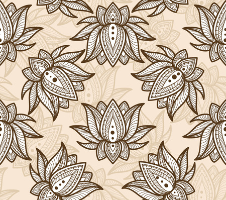Seamless Decorative Pattern with Lotus. Vector Illustration.