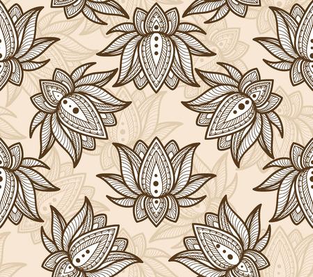 Seamless motivo decorativo con Lotus. Illustrazione vettoriale. Archivio Fotografico - 35891493