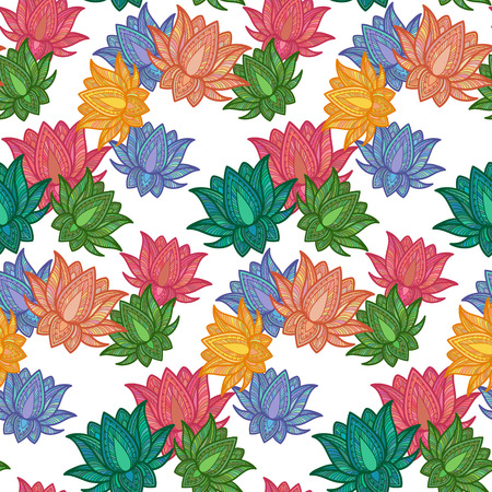 Seamless Decorative Pattern with Lotus. Vector Illustration. Vector