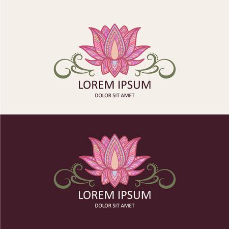 logo medicina: Icono de Lotus y Plantilla Logo. Ilustración del vector.