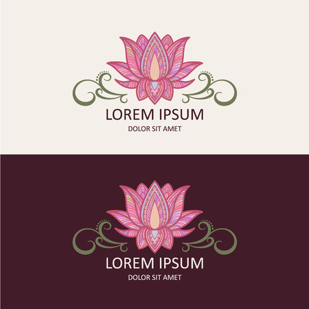 flower line: Lotus Icon and Logo Template. Vector Illustration.