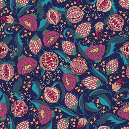 Seamless Bohemian Pomegranate Floral Pattern. Vector Illistration.