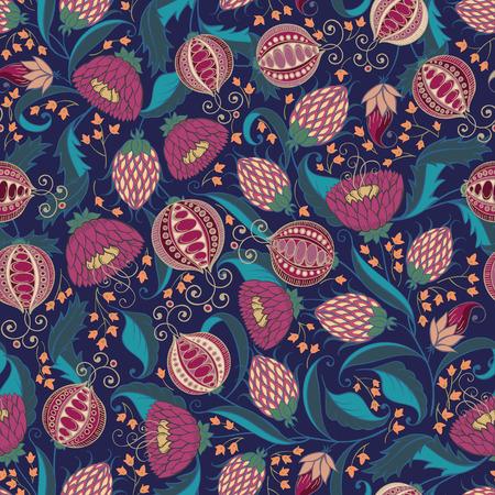 Seamless Bohemian Pomegranate Floral Pattern. Vector Illistration.