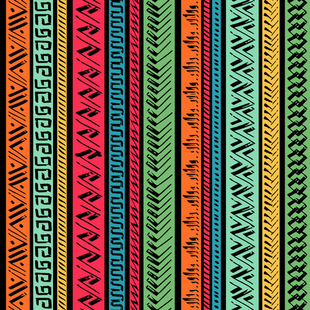 Seamless Hand Drawn Ethnic Pattern. Vector Illustration. Vectores
