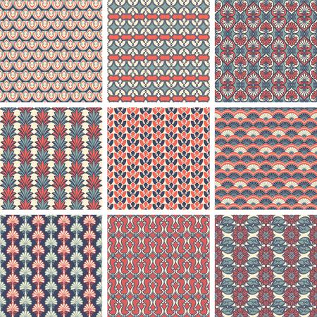Set of Geometry Seamless Vintage Patterns. Vector Illustration. Vektorové ilustrace