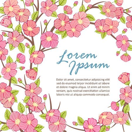 sakura tree: Sakura tree branch frame template. Vector illustration. Illustration