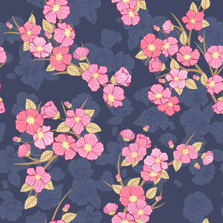 cherry blossom: Seamless cherry bloomi background. Fabric textile pattern.