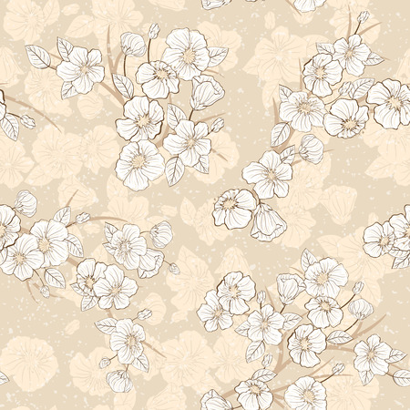 Seamless cherry bloomi background. Fabric textile pattern.