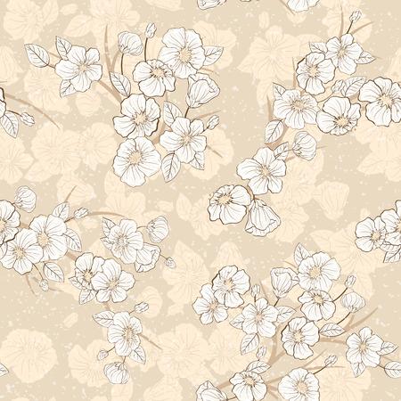 Seamless ciliegia sfondo Bloomi. Fabric pattern tessili. Archivio Fotografico - 37467550