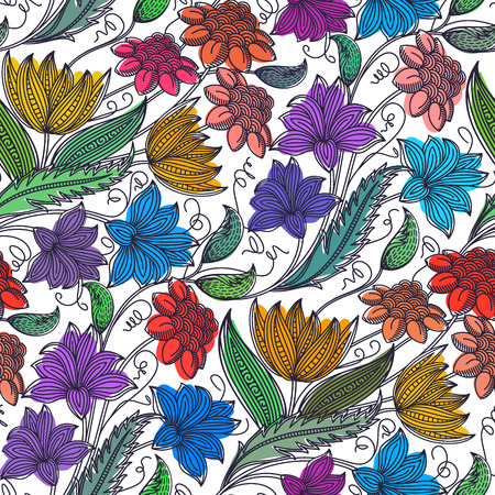 Seamless abstract colorful flower pattern. Best for wrapping paper. Ilustracja