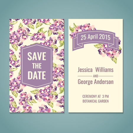nuptial: Save the date, shower, wedding, greeting card template. Watercolor vector illustration. Illustration