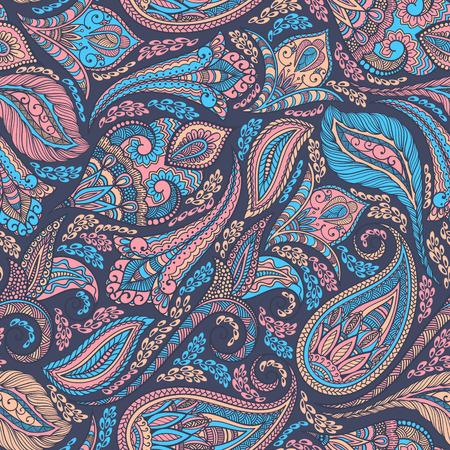 paisley wallpaper: Paisley seamless fabric background pattern. Decorative vector illustration. Illustration