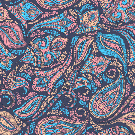 Paisley seamless tessuto di fondo del modello. Decorative illustrazione vettoriale. Archivio Fotografico - 38181293