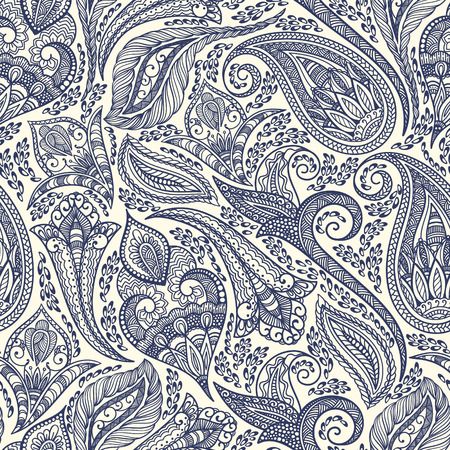 Paisley seamless fabric background pattern. Decorative vector illustration. Vettoriali