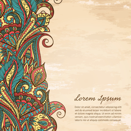 Paisley ethnic decorative border. Frame for text.