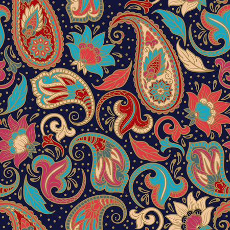 design floral: Paisley Seamless Ethnic Decorative Pattern.  Best for Fabric, Textile, Wrapping Paper, Scrapbook.