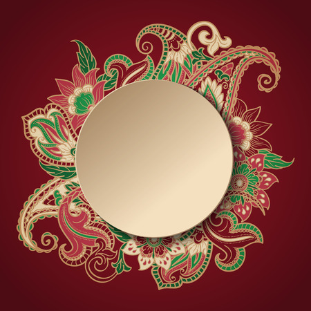 Ethnic Paisley Romantic Label. Frame with place for text. Stock Illustratie