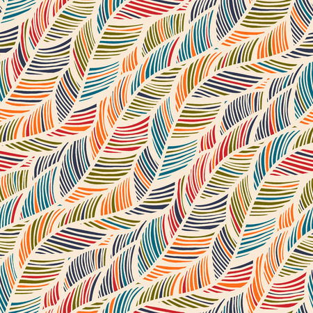 Abstract Feather Wave Decorative Pattern. Seamless Wallcovering Template.