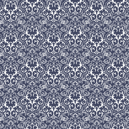 rococo: Seamles Damask Rococo Pattern Background. Vector Illustartion.