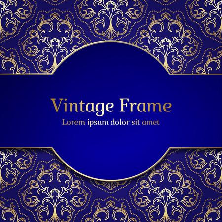 Vintage Royal Gold Frame. Damask Luxury Background. Vettoriali