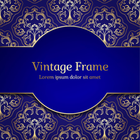 Vintage Royal Gold Frame. Damask Luxury Background. Çizim