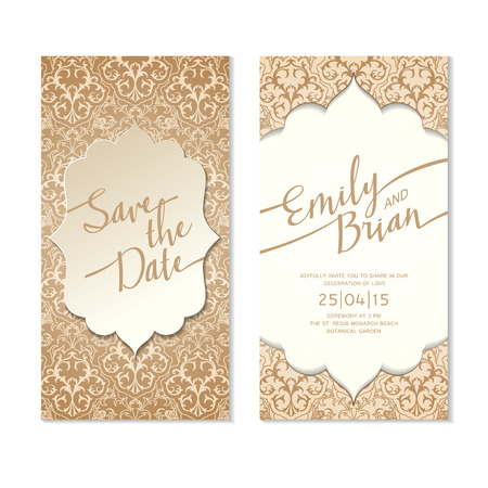 Save The Date Card Template. Wedding Invitation Card. Zdjęcie Seryjne - 38867849