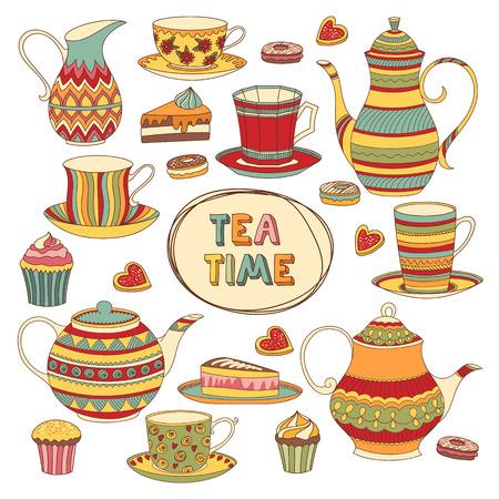 tea time: Tea Time Cartoon Scrapbook Set. Menue Template. Isolated Objects.