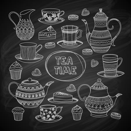 Set of Hand Drawn Objects. Best for Cafe or Restaurant. Vector