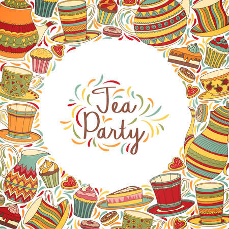 morning tea: Tea Party  Invitation Card. Vector Colorful Frame Banner.