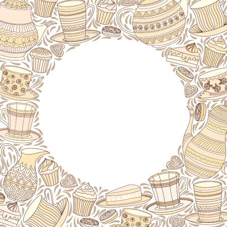 tea time: Tea Time Frame. Best For Invitation, Birthday Party Card.