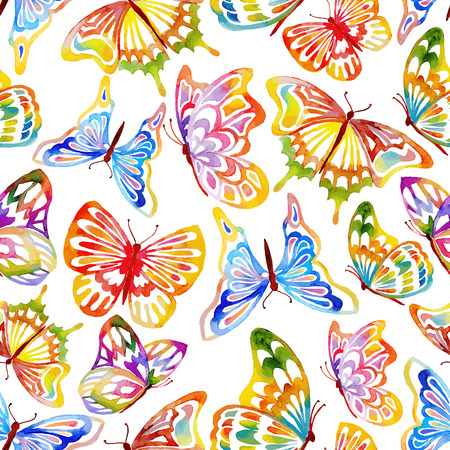Abstract Seamless Waterclor Butterfly Pattern. Hand Drawn Illustration.