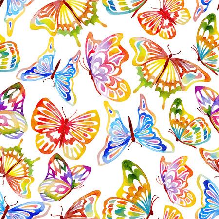 mariposas amarillas: Modelo abstracto inconsútil Waterclor mariposa. Dibujado a mano ilustración.
