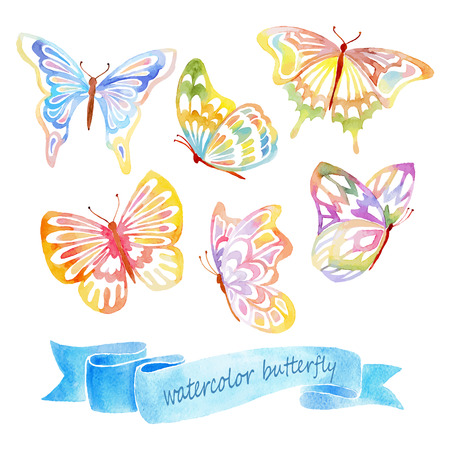 Set of Isolaterd Watercolor Colorful Butterfly. Hand Drawn Vector Illustration. Stock Illustratie
