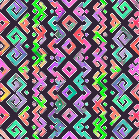 tribal style: Hand Drawn Watercolor Ethnic Tribal Ornamental Pattern. Fabric, Scrapbooking, Wrapping Paper Design Template.