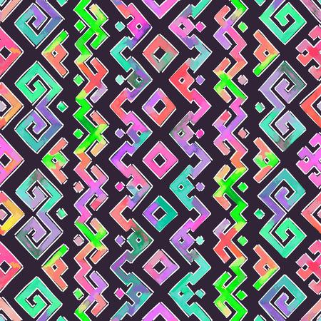 tribales: Mano Acuarela Dibujado étnico Modelo tribal ornamental. Tela, el scrapbooking, papel de embalaje plantilla de diseño. Vectores