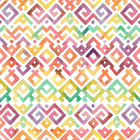 원활한 손으로 그린 수채화 민족 부족 장식 패턴입니다. 직물, 스크랩북, 포장지 디자인 템플릿입니다.