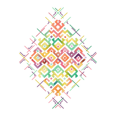 Hand drawn watercolor ethnic t-shirt print template. Tribal vectorr pattern.