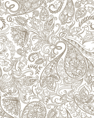 Vintage floral seamless paisley pattern. Traditional persian pickles ornament. Fabric, textile, wrapping paper, card background, wallpaper template. 向量圖像