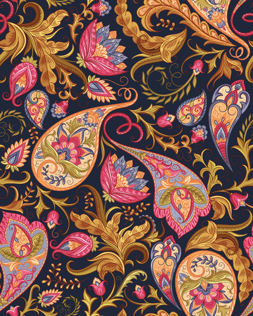 Vintage flowers seamless paisley pattern. Traditional persian pickles ornament. Fabric, textile, wrapping paper, card background, wallpaper template.