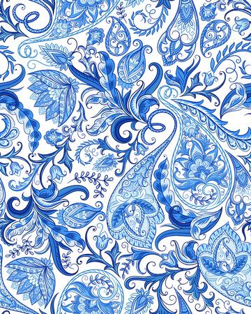 Uitstekende bloemen naadloze paisley patroon. Traditionele Perzisch pickles ornament. Stof, kaart, achtergrond, inpakpapier, behang sjabloon. Stock Illustratie