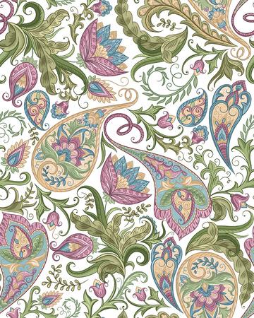 ヴィンテージ花柄シームレスなペイズリー柄。伝統的なペルシャ ピクルス飾り。布、繊維、背景カード、包装紙、壁紙テンプレートです。