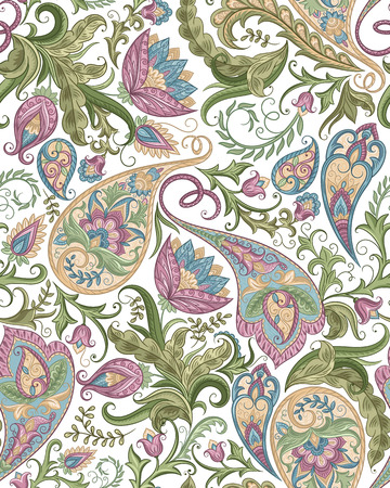 paisley background: Vintage floral seamless paisley pattern. Traditional persian pickles ornament. Fabric, textile, card background, wrapping paper, wallpaper template.